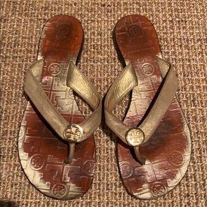 Gold Tory Burch Sandals. Sz 8